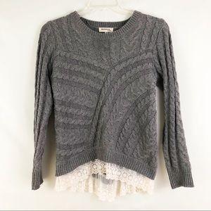 Monteau Gray Cable Knit Sweater Lace Trim Sz M